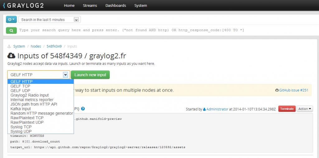 Liste des inputs dans Graylog2