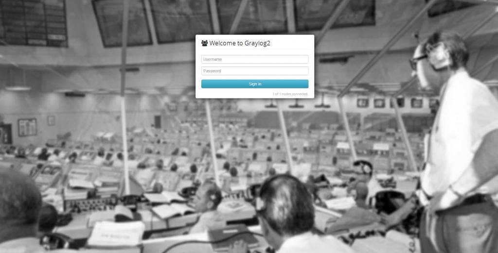 Ecran de connexion à Graylog2